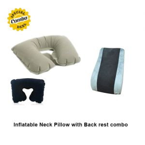 Inflatable Neck Pillow with Back rest combo