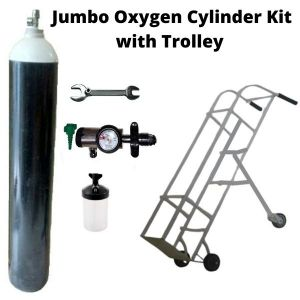 Jumbo Oxygen Cylinder Kit with Click Type Regulator & Trolley