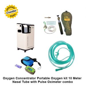 Oxygen Concentrator Portable Oxygen kit 10 Meter Nasal Tube  with Pulse Oximeter combo