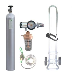 6  Oxylife 10 Kit (with Cylinder Trolley) with Following Accessories   1) Aluminium Cylinder 10 liters           : 1 No.  2) Imported Click Type Regulator       with Pressure Gauge      : 1 No. 3) Face mask with Flexible Tubing        : 1 No.  4) Cylin